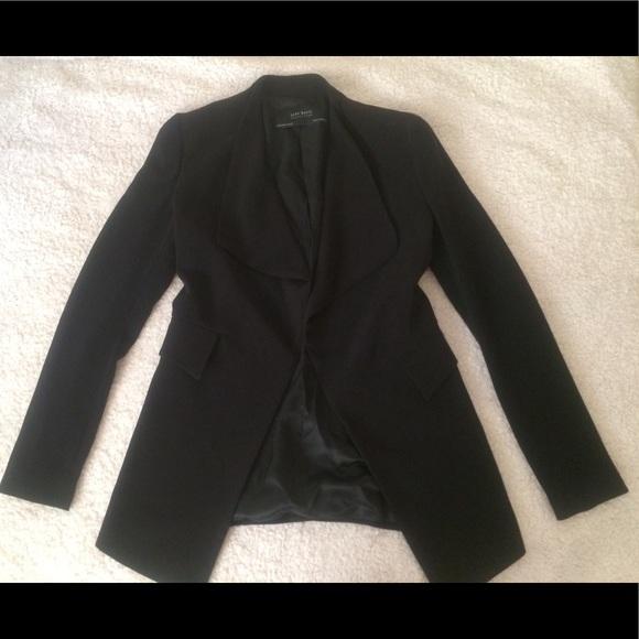 ef09737d Zara Jackets & Coats | Black Sexy Long Asymmetrical Jacket Blazer ...